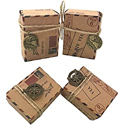 Awtlife 100 pcs Small Vintage Inspired Airmail Wedding Candy Boxes Party Gift Favor