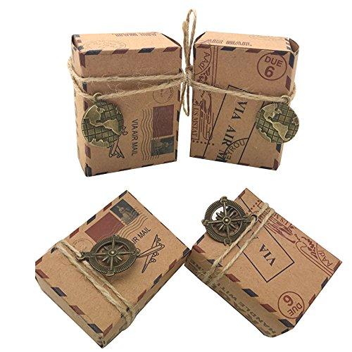 Awtlife 100pcs Kraft Petite voie aérienne d'inspiration vintage Mariage Boîtes à bonbons