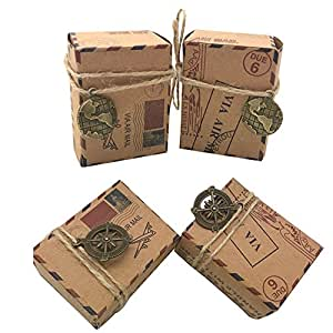 Awtlife - 100 cajas de caramelos de papel kraft natural, diseño vintage: Amazon.es: Hogar