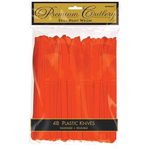 Premium Heavy Weight Plastic Knives | Orange Peel | Pack of 48 | Party Supply