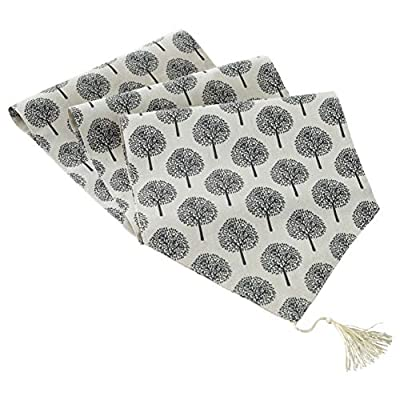 iiDesign Natural Cotton & Linen Table Runner with Lucky Tree Pattern, Handmade Farmhouse Style Table Runner with Tassel (Grey, 70 inches) - Durable and Easy-Care Material: Cotton and linen blended, environmental friendly, wear-resisting table runner with excellent quality, easy to take care and easy to clean. Prefect for Various Scenarios: This natural, comfortable, peaceful and elegant table runner reconciles with minimalist elements, perfect fitting for dinning, party, birthday, meditation, farmhouse, church, or any other scenarios you like. Three Sizes Available: The 12 inches width table runner has three lengths available: 70 inches, 86 inches,108 inches. Each size of table runners serves various scenarios, just decorate your table as you want. - table-runners, kitchen-dining-room-table-linens, kitchen-dining-room - 51j7vpcSVlL. SS400  -
