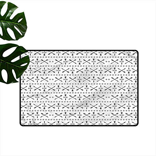 Thin Door mat Arrow Crossed Arrows Up and Down Machine wash/Non-Slip W24 xL35 Double Crossed Bamboo Tree