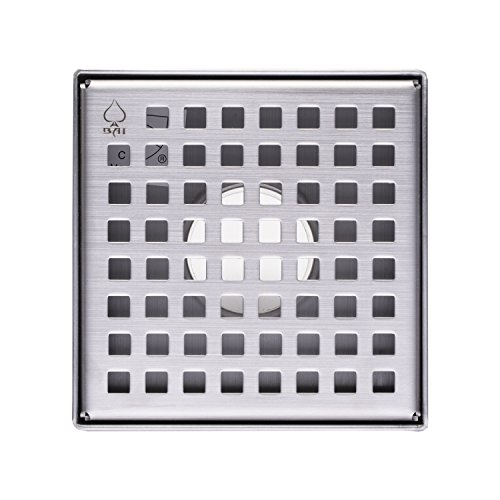 "85%OFF BAI 0574 Stainless Steel Square Shower Drain 5""x 5"""