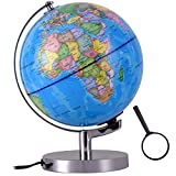 Qwork 8-inch Illuminated World Desktop Globe Toy for Kids, Built in LED 2-in-1 Night Light Political Globes with Metal Stand