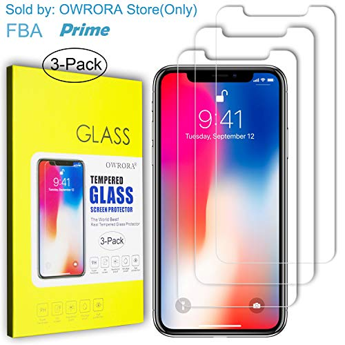 """iPhone Xs Max Screen Protector,OWRORA 2.5D Edge Tempered Glass Anti-Scratch Case Friendly Siania Retail Package for iPhone Xs Max 6.5""""-3 Pack"""