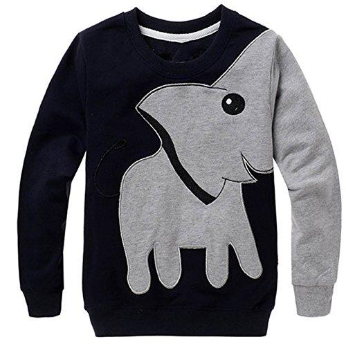 Tecrok Little Boys' Super Cute Elephant Print Sport Long Sleeve Pullover T...