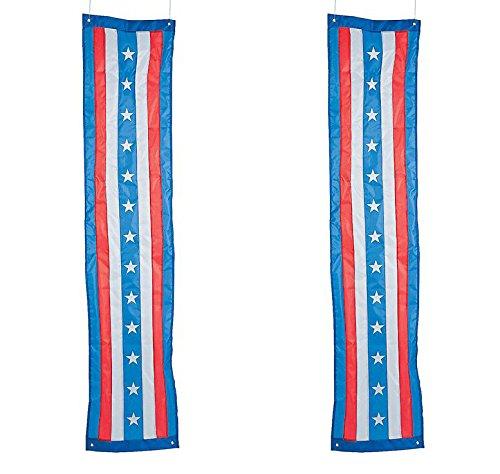 Set of 2 Americana Patriotic Pride Flag Vintage Flag Stars Stripe Red White Blue Doorway Entrance Pillar (Star Fireplace Pillar)