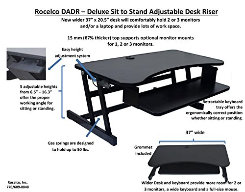 Rocelco Dadr Heavy Duty Standing Desk Height Adjustable