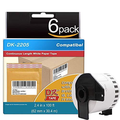 6 Rolls Compatible Brother DK-2205 Continuous Length Paper Tape Labels for 62mm x 30.48m (2-3/7 x 100) Plus 1 Reusable Frame for QL-500 QL-570 QL-700 QL-710W QL-720NW QL-1060N Printer