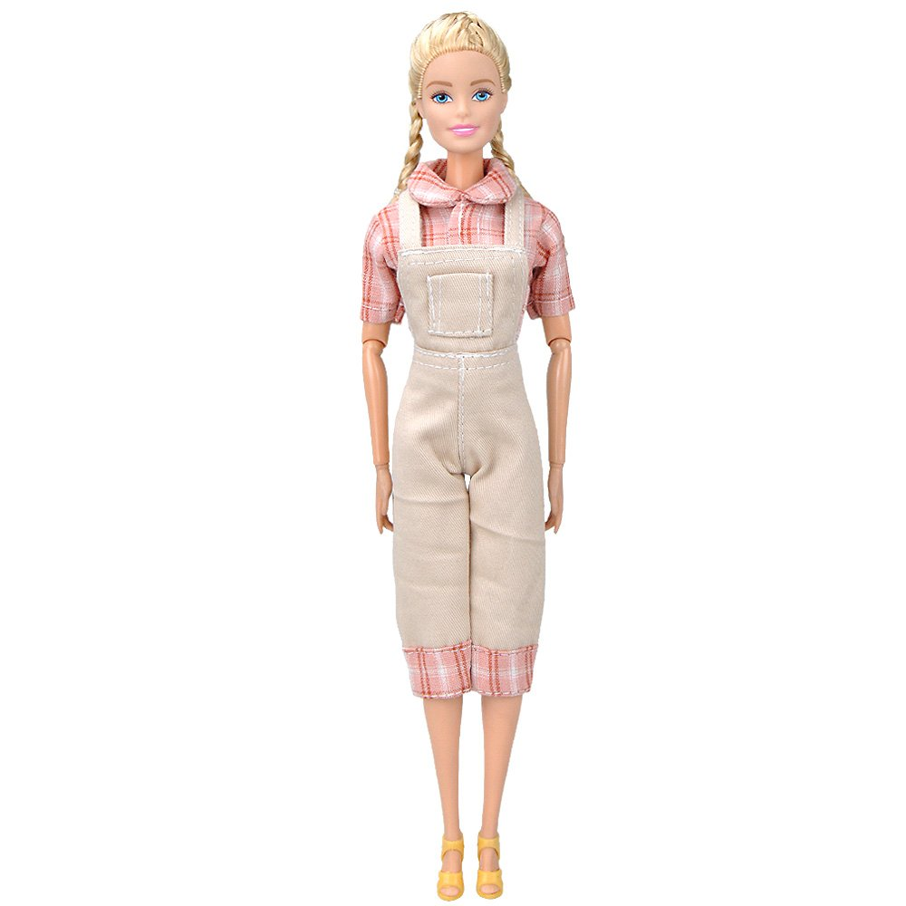E-TING Handmade Fashion Doll Clothes Country style Jumpsuits Wears For Barbie Dolls