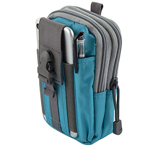 Bemz Travel Pouch Compatible with Samsung Galaxy A50/A20/A30/A10e, 600D Waterproof Nylon Material Tactical EDC MOLLE Organizer Carrying Holster Case and Atom Cloth - Blue/Gray from Bemz Depot