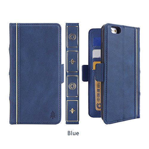 AICEDA Flip Wallet Case for iPhone 6 Plus iPhone 6s Plus Comfortable Shock Protection with Card Slots Lightweight Shell and Adjustable Stand Blue by AICEDA