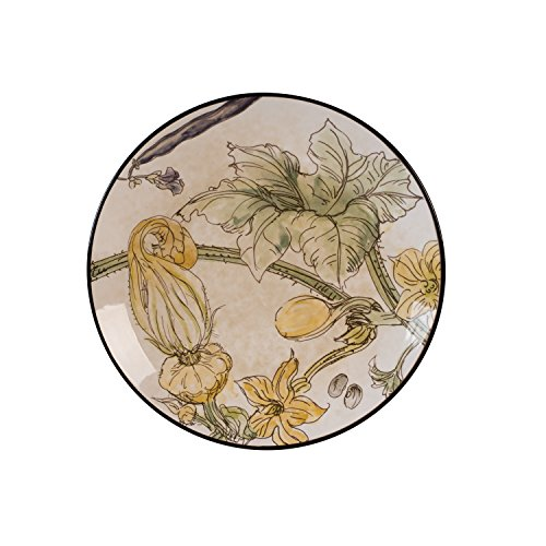 Fitz and Floyd Fattoria with Squash Blossoms Accent Plates, Tan