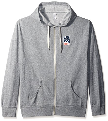 US Ski-Snowboard Licensed Apparel U.S. Ski Team Logo Zip Hoodie, Grey Heather, - Hoody Logo Team