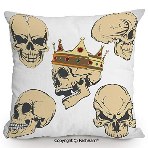 FashSam Decorative Throw Pillow Cover Skulls Different Expressions Evil Face Crowned Death Monster Halloween for Pillow Cover for Living Room(16