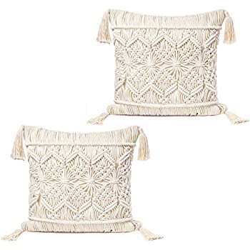 Amazon.com: Mkono Throw Pillow Cover Macrame Cushion Case ...