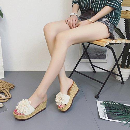 Omiky® Sommer Floral Plattform Wasserdicht Frauen Sandalen Keil Sandalen Hausschuhe Schuhe Beige