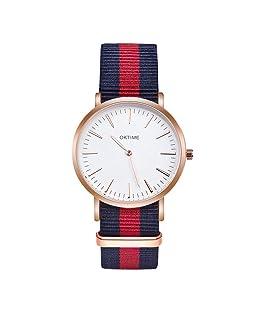 prosperveil Women Watches Waterproof Women Round Dial Watches Striped Nylon Strap Quartz Wristwatches
