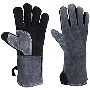 932°F Leather Heat Resistant Welding Gloves Flame Retardant BBQ Grill Glove for Tig Welder/Grilling/Barbecue/Oven/Fireplace/Wood Stove - Long Sleeve and Insulated Cotton (Black-gray,14-inch)