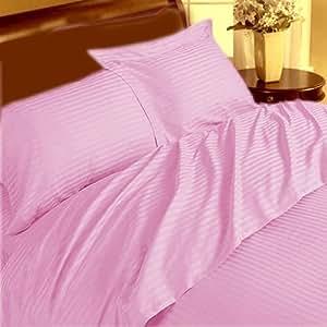 1pieza sábana bajera + 2piezas Funda de almohada–-- 400hilos rosa diseño de rayas UK solo 100% algodón egipcio Extra profundo bolsillo (10Inche)–as1