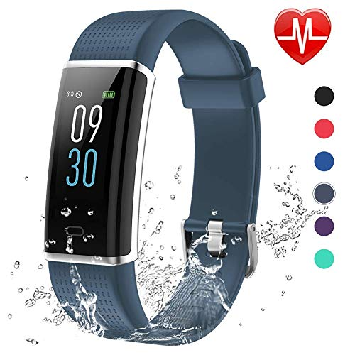 Monitor Watch Rate Pro Heart (Lintelek Fitness Tracker, Color Screen Activity Tracker with Heart Rate Monitor, Sleep Monitor, 14 Sports Modes, IP68 Waterproof Pedometer, Step Counter for Kids, Women, Men (Smoky Gray))
