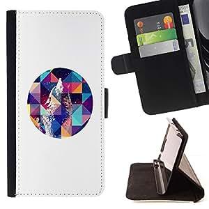 For HTC Desire 820 Case , Howl Arte Blanca Polígono Noche- la tarjeta de Crédito Slots PU Funda de cuero Monedero caso cubierta de piel