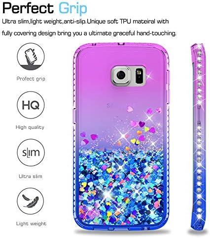 LeYi Coque Galaxy S6 Edge avec 3D Pet Protection écran [Lot de 2], Fille Personnalisé Liquide Paillette Transparente 3D Silicone Gel Antichoc Kawaii ...