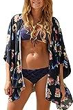 Relipop Women's Sheer Chiffon Blouse Loose Tops Kimono Floral Print Cardigan (XX-Large, Style 19)