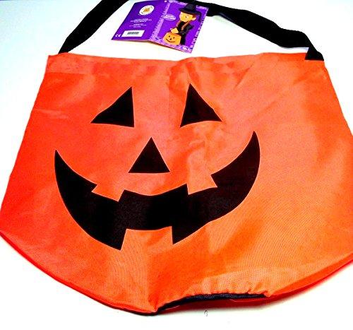 Build a Bear Jack O Lantern Trick or Treat Halloween Nylon Candy Bag Fluorescent Orange Pumpkin Tote! -