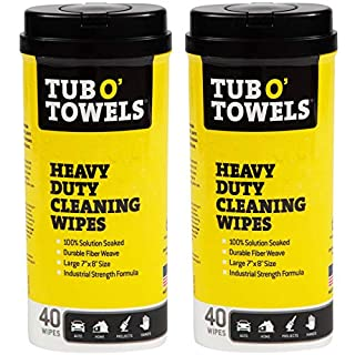 """Tub O Towels TW40 Heavy-Duty Multi-Surface Cleaning Wipes, Citrus, 7"""" x 8"""" Inch, 2 Count"""