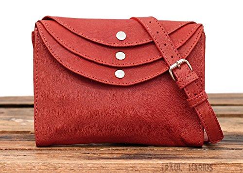 LA MINAUDIÈRE Korall Handtasche Vintage-Stil aus Leder Damentasche PAUL MARIUS