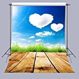 FUERMOR Photo Background 5X7FT Heart Shaped Clouds Wood Floor Photography Backdrops Props For Children Photo Studio A005