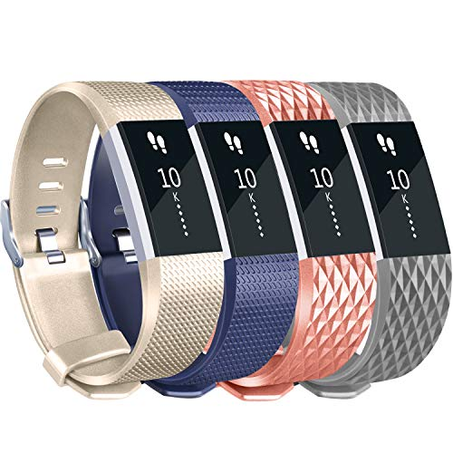 Tobfit Sport Silicone Bands Compatible for Fitbit Charge 2 Classic & Special Edition, 4 Pack, Blue/Champagne/Rose Gold/Grey, Small Color: Blue/Champagne/Rose Gold/Grey