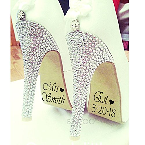69a8d553725f Amazon.com  BATTOO Wedding Shoes Decal Personalized Wedding Shoes Sticker  Wedding Decal Wedding Sticker Bride Shoes Decal PLUS free hello door decal   Home   ...