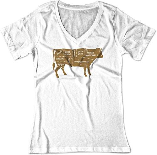 - BSW Women's Beef Labels BBQ Cuts Steak Sirloin Cow V-Neck Shirt XS White