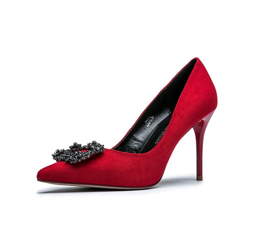 Dream Chaser Spring and summer elegant high-heeled shoes sexy lady pointed shallow mouth wedding shoes (Color : Red, Size : 37)