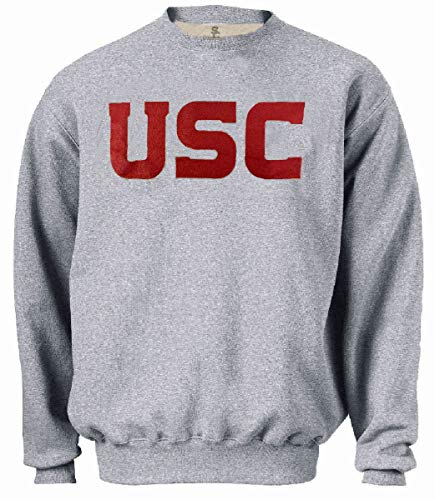 289c apparel USC Trojans Mens Grey Screened Wordmark Crew Sweatshirt (X-Large)
