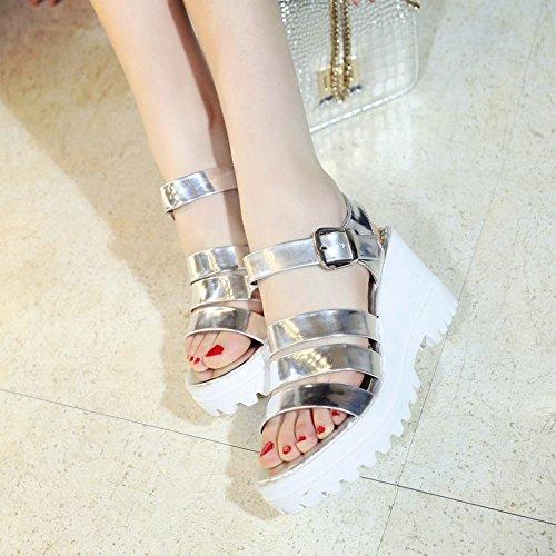 Charm Foot Womens Western Wedges Platform Open Toe Sandal Silvery gV3qRc930