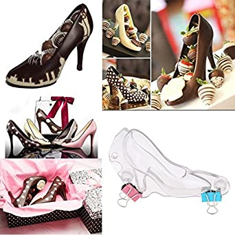 8a7d3cb67785 Image Unavailable. Image not available for. Color  DIY 3D Chocolate Mold  Plastic Mini High-Heel Shoe ...