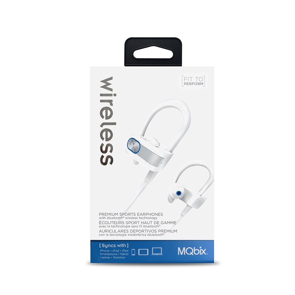 Amazon.com: MQbix Wireless Premium Quality Bluetooth Sports Earphones with Secure Fit Wrap-Around Ear-Hooks Built-in Microphones White (MQBT57WHT): ...