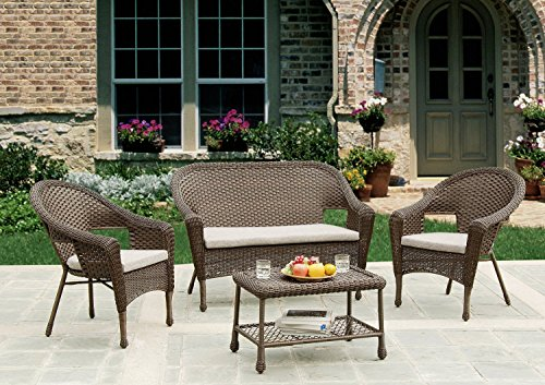 W Unlimited Dragon Power Investment Brown Wicker 4-Piece ...