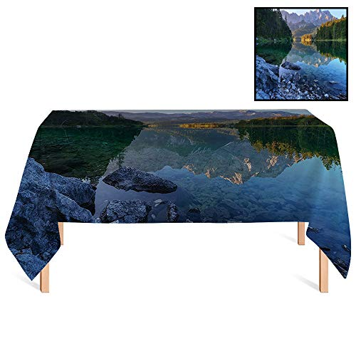 SATVSHOP Oblong Tablecloths /60x140 Rectangular,Lake House Fantastic Sundown on Mountain Lake Eibsee Located in The Bavaria Germany Green Mustard Blue.for Wedding/Banquet/Restaurant.