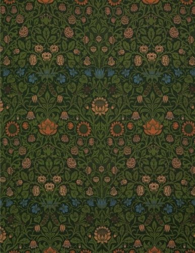 Violet and columbine, William Morris.  Blank journal: 160 blank pages, 8,5x11 inch (21.59 x 27.94 cm) Soft cover / Paperback (Violett Grün)