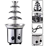 DreamHank Chocolate Fondue Fountain 4 Tiers Stainless Steel for Party Wedding Hotel