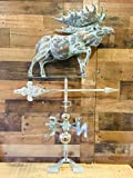 Hand Crafted LARGE 3D MOOSE WEATHERVANE Copper Patina Finish - House or Yard Accent
