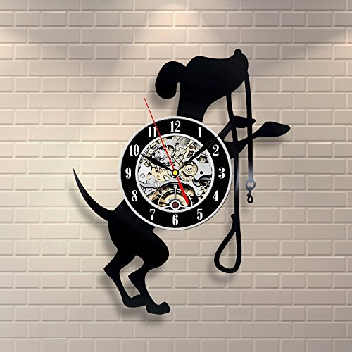(Dog Decor Vinyl Record Clock Home Design Room Art Animals)