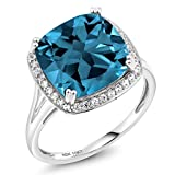 10K White Gold London Blue Topaz and White Diamond Women's Ring 8.54 Ct Cushion Cut (Available 5,6,7,8,9)