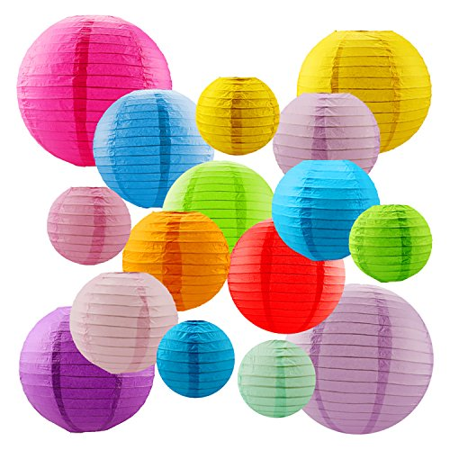 16 Packs Paper Lanterns with Assorted Colors and Sizes paper lanterns decorative,Chinese Paper Hanging Decorations Ball Lanterns Lamps for Home Decor, Parties, and Weddings
