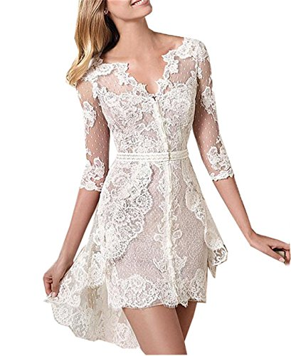Onlinedress Women's Romantic Boho Short Lace Wedding Dress for Bride With Sleeves 10 Ivory
