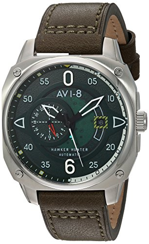 AVI-8 Men's 'Hawker Hunter' Japanese Automatic Stainless Steel and Leather Aviator Watch, Color:Green (Model: AV-4043-02)